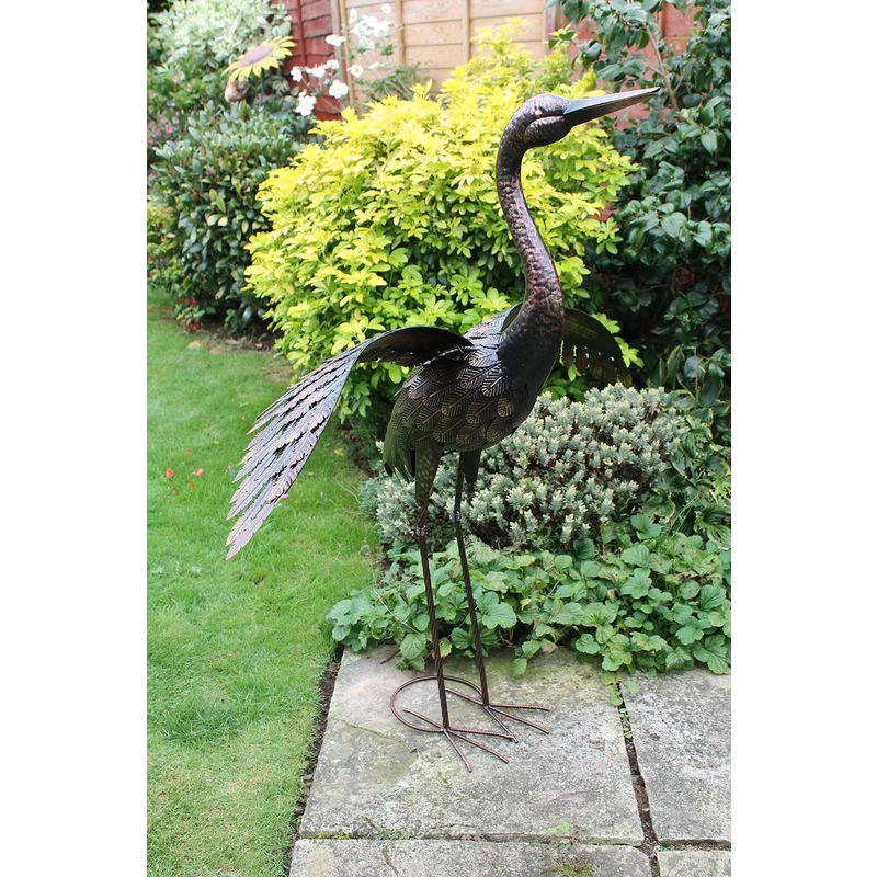 Creekwood 48064/Grande Gru Uccello Statua Ornamento 113/cm Height-Wings Down Bronzo 53/x 94/x 113/cm