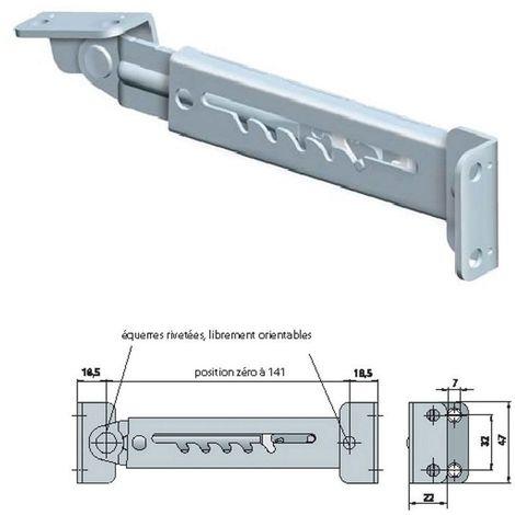 Crèmaillère de relevage - Hauteur fermé : 47 mm - Matériau : Acier - Longueur mini : 184 mm - Longueur maxi : 234 mm - Nombre de positions : 5 - Finition : Zingué blanc - ITAR