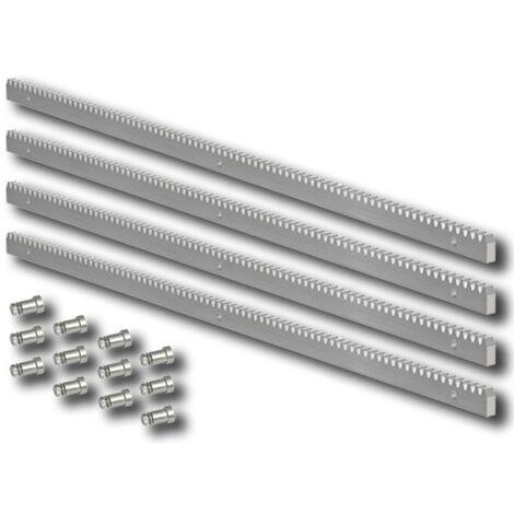 crémaillère en acier galvanisé 30x12 module 4 + fixations - 4x1 mètre