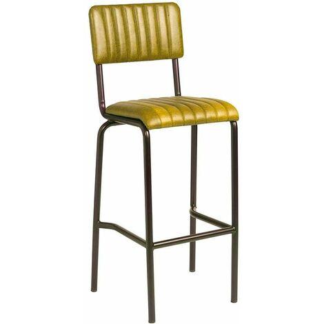 Creme Bar Stool - Ribbed - Lascari - Vintage Gold