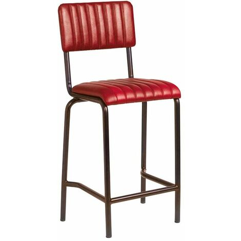 Creme Mid Bar Stool - Ribbed - Lascari Red