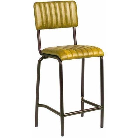 Creme Mid Bar Stool - Ribbed - Lascari Vintage Gold