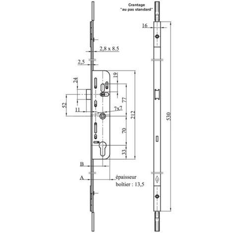 """main image of """"Crémone barillet F35 L.530 mm MAP ajustable haut et bas - 3555"""""""