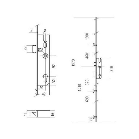 Crémone pour porte MP 40/92/8 SSPD/CP 3RS TA SIEGENIA - TGKT3050-100011
