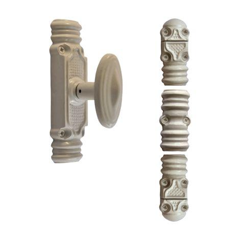 """main image of """"Crémone rustique fonctionnelle ROLLINGER + sachet d'accessoires pour tringle 16x8 - Blanc 9016 - CRF168BT6EB"""""""