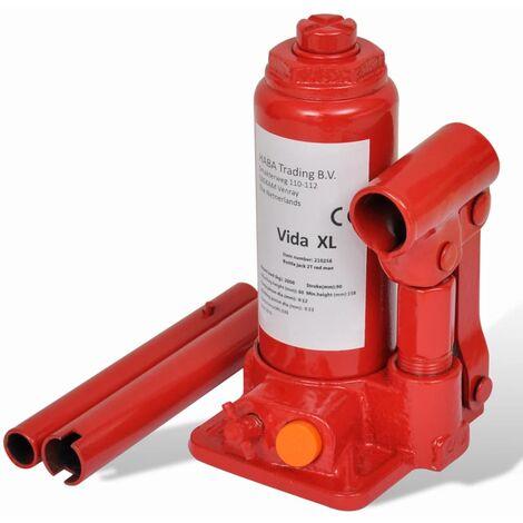 Cric bouteille hydraulique 2 tonnes Rouge