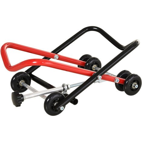 Cric de levage de roues cric de levage de pneu chariot de transport à pneu hauteur réglable 11-28 cm métal rouge noir