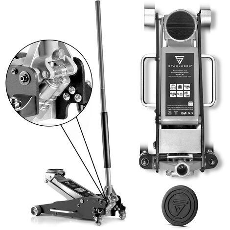 Cric de manœuvre STAHLWERK, cric hydraulique jusqu'à 2,5 t et une levée de 100 à 465 mm, construction en aluminium et acier inoxydable avec double pistons de levage