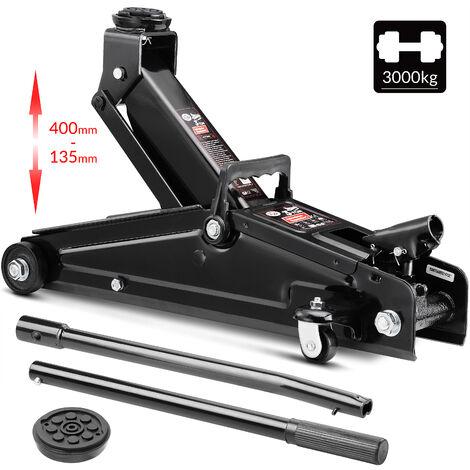 Cric hydraulique 3 tonnes Compact et robuste Levée de 135 à 400 mm Patin en caoutchouc
