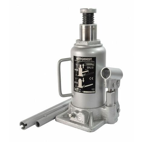 Cric hydraulique bouteille, capacité 12T, hauteur levage de 215 à 400 mm - AUTOBEST
