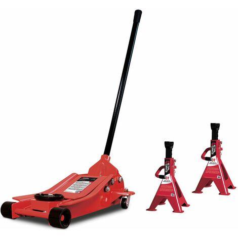 Cric rouleur extra plat 2,5T et chandelles 3T MW-Tools CAT25LSET