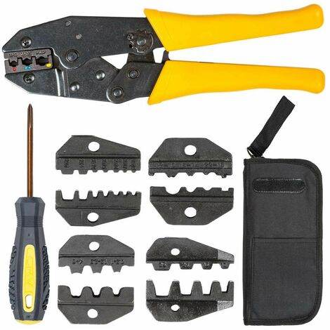 Crimpzange 0,5–6 mm² mit 5 Pressbacken - Handzange, Kabelschuhzange, Quetschzange - gelb
