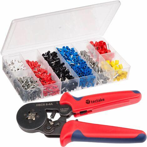 Crimpzange + 1200 teiliges Aderendhülsenset - Aderendhülsenzange mit Steckern, Crimpwerkzeug, Vierkantzange - schwarz/rot