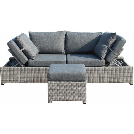 CRINIS - divano da giardino con pouf completo di cuscino intreccio ...