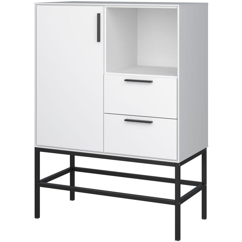 Cris Sideboard 1 Tür und 2 Schubladen, weisslackiert, Metallgestell schwarz 04-39125760371510F - PKLINE