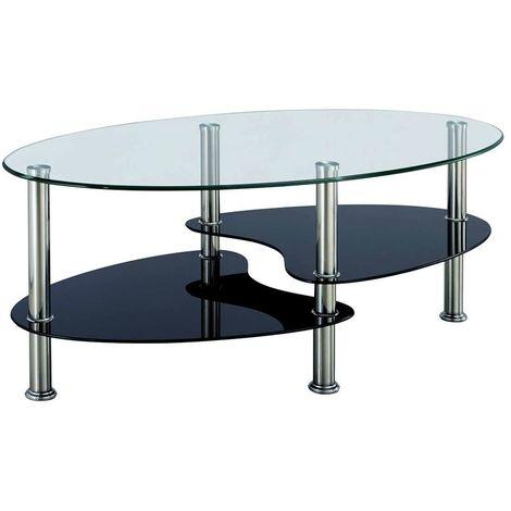 """main image of """"CRIS - Table basse en verre transparent noir"""""""