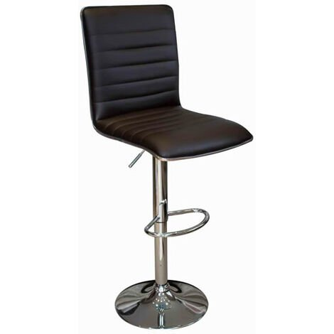 Crispi Kitchen Breakfast Bar Stool Black Padded Seat And Back Silver Trim Height Adjustable Black
