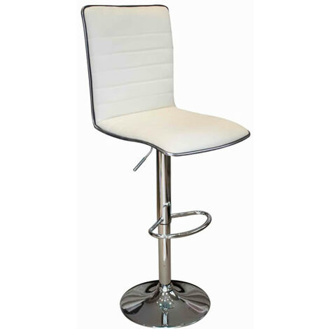 Crispi Kitchen Breakfast Bar Stool Cream Padded Seat And Back Silver Trim Height Adjustable