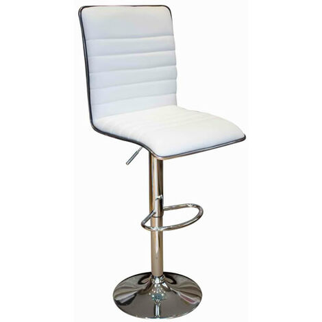 Crispi Kitchen Breakfast Bar Stool -White Padded Seat And Back Silver Trim Height Adjustable