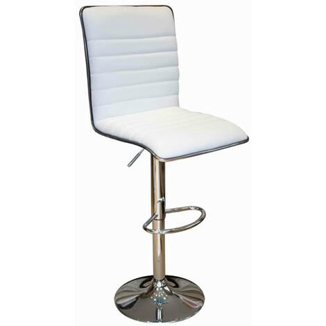 Crispi Kitchen Breakfast Bar Stool -White Padded Seat And Back Silver Trim Height Adjustable White