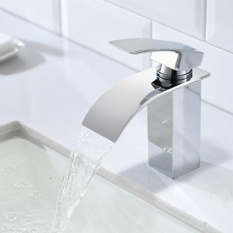Cristal Grifo de Lavabo de Cascada Monomando para Baño y Cocina, Cromo Plateada