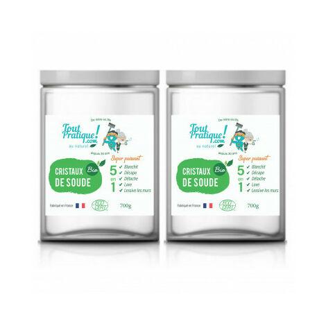 Cristaux de Soude Bio 1.4 Kg en Pot Réutilisable- Qualité Supérieure-Français