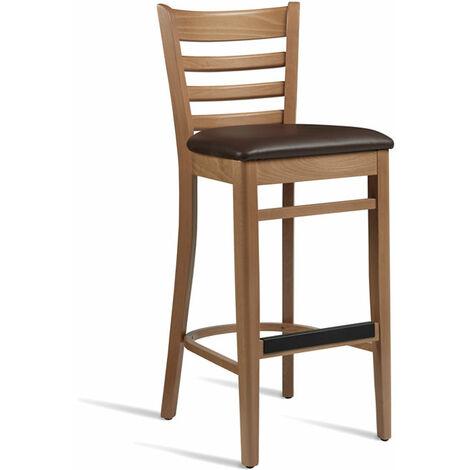 Cristo Light Brown Frame Dark Brown Seat Pad Wooden Breakfast Bar Kitchen Stool