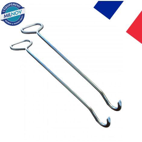 Crochet lève plaque longueur 570mm Ø 12 mm (lot de 2)