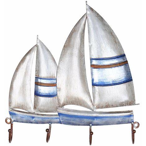 Crochet mural pour voilier Crochet en fer 4 crochets pour porte-vetements mural Cadeaux decoratifs
