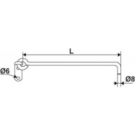 Crochet sur platine à crémaillère en aluminium Ø 8 mm longueur 300 mm livré sans crémaillère