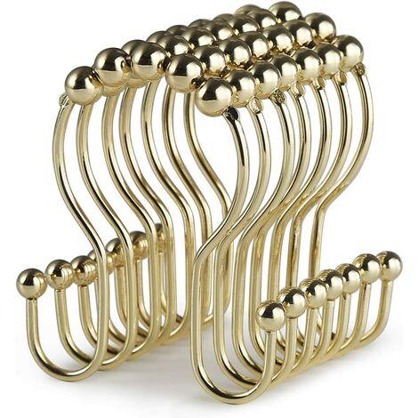 Crochets de rideau de douche, 12 anneaux de rideau de douche, rouleau en acier inoxydable résistant à la rouille, double crochets de douche coulissants anti-chute pour rideaux de douche de salle de bain (doré)