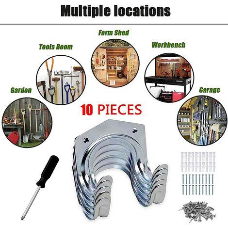 Crochets-Doubles Utilitaires, crochets de systèmes de rangement -Dérapant Support Lourd, Crochets de systèmes de rangement pour Stockage outils garage, vélos, échelles