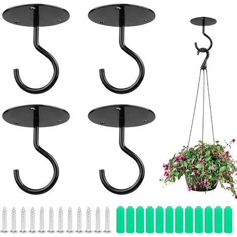 Crochets muraux 4 pièces en métal Crochets de plafond à montage mural Plantes Crochets Swag Cintres de plafond robustes avec vis pour suspendre des paniers de plantes, des carillons éoliens, des lanternes, des décorations d'extérieur Noir