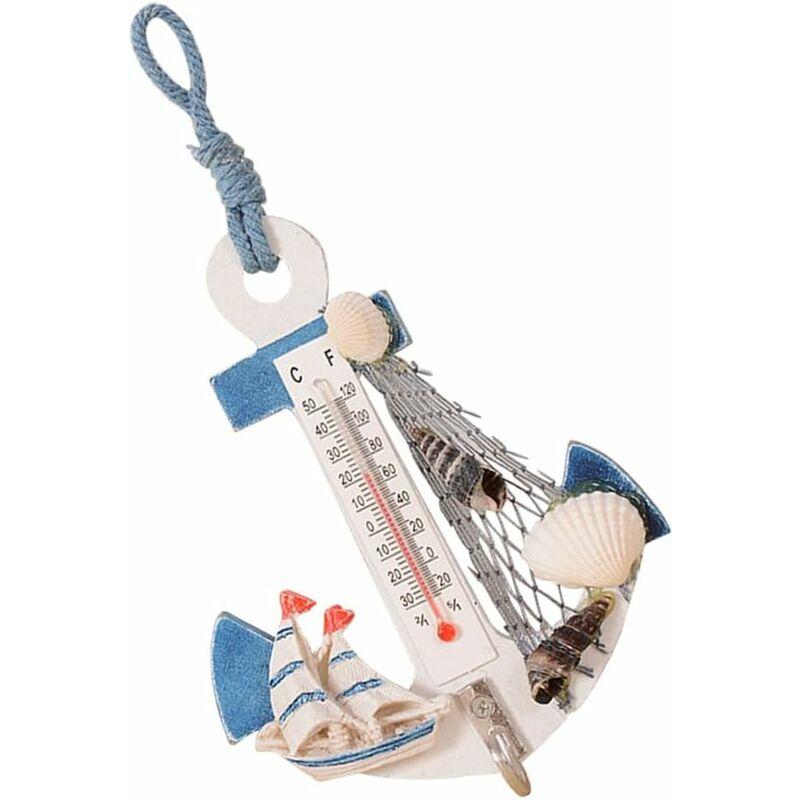 Briday - Crochets muraux d'ancre suspendus Mini décor de thermomètre nautique 2 pièces (couleur aléatoire)