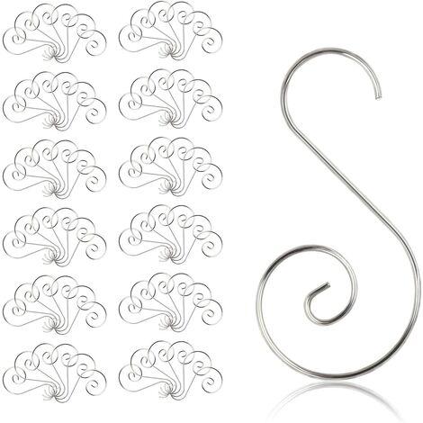 """main image of """"Crochets pour Boules Noël, 100 Pcs Crochet de Noël Ornement en Forme de S Cintre de Suspension pour Sapin de Noël Décoration de Fêtes"""""""