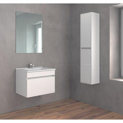 Crocket Mueble de Baño Soki + Lavabo Cerámico + Espejo con Trasera - Cajones amortiguados - Acabado Melamina - Viene Montado -
