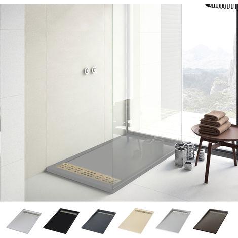 Plato de ducha de resina-antideslizante-textura pizarra 70x100, negro