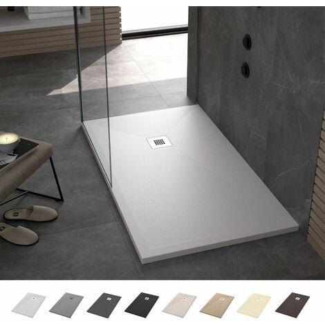 Crocket Plato de Ducha Resina Stone - Blanco - Antideslizante, Textura Pizarra y Extraplano - Todas las medidas disponibles - Incluye Sifón y Rejilla - Blanco RAL 9003 -