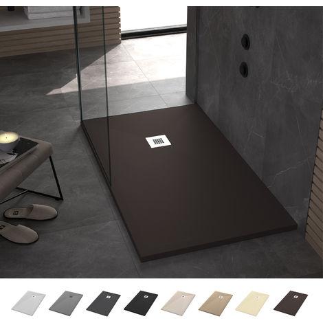 Crocket Plato de Ducha Resina Stone - Chocolate - Antideslizante, Textura Pizarra y Extraplano - Todas las medidas disponibles - Incluye Sifón y Rejilla - Chocolate RAL 8017 -