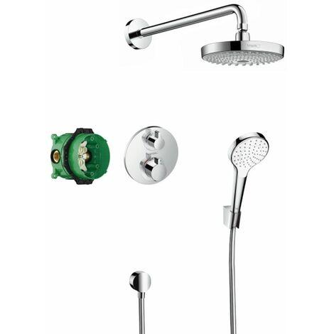 Croma Select SSet de ducha empotrado con termostato Ecostat S en acabado cromado