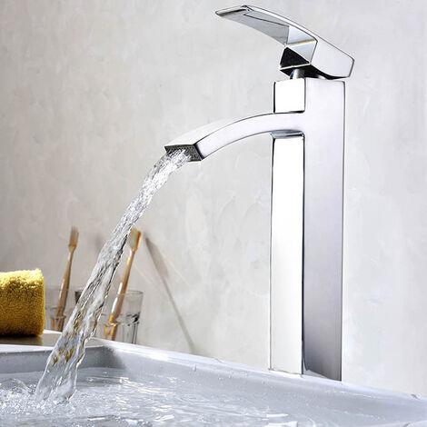 """main image of """"Cromo Cascada Grifo de lavabo Grifo de Baño Monomando de lavabo Grifería lavabo Alto caño Agua fría y cliente"""""""