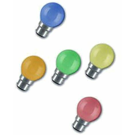 Crompton Lamps 15W Festoon Golfball BC-B22d Dimmable (20 Pack) Mixed Colours Round Traditional Outdoor Coloured Light Bulbs