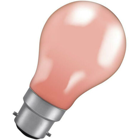 Crompton Lamps 15W GLS BC-B22d Dimmable Colourglazed IP65 Pink A60 Traditional Outdoor External Festoon Light Bulb