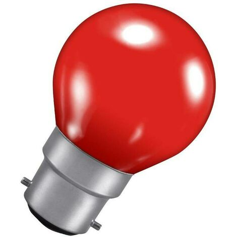 Crompton Lamps 15W Golfball BC-B22d Dimmable Colourglazed IP65 Red Round Traditional Coloured Outdoor External Festoon Light Bulb