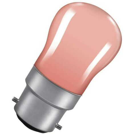 Crompton Lamps 15W Pygmy BC-B22d Dimmable Pink Sign Traditional Coloured Outdoor External Festoon Light Bulb