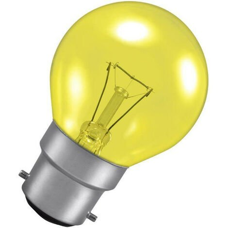 Crompton Lamps 25W Golfball B22 Dimmable Harlequin Yellow Translucent
