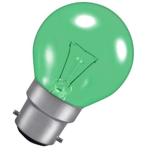 Crompton Lamps 25W Golfball BC-B22d Dimmable Harlequin Green Translucent Round Traditional Coloured Outdoor External Festoon Light Bulb