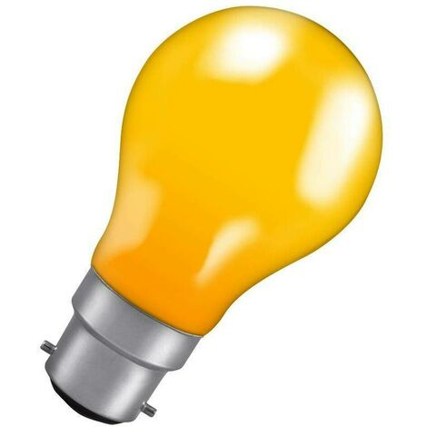 Crompton Lamps 60W GLS BC-B22d Dimmable Colourglazed IP65 Amber A60 Traditional Coloured Outdoor External Festoon Light Bulb