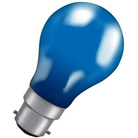 Crompton Lamps 60W GLS BC-B22d Dimmable Colourglazed IP65 Blue A60 Traditional Coloured Outdoor External Festoon Light Bulb