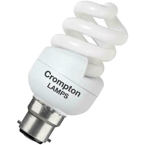 Crompton Lamps CFL T2 Mini Helix Spiral 11W BC-B22d 2700K Warm White Frosted 650lm Crompton Lamps CFL T2 Mini Helix Spiral BC Bayonet B22 Energy Saving CFL Compact Fluorescent Opal Light Bulb